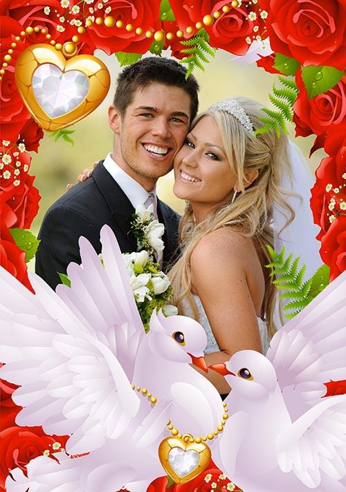 Свадебная фото рамка с красными розами и голубями