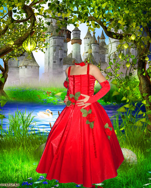 Детский шаблон - Девочка в красном платье у озера с лебедем