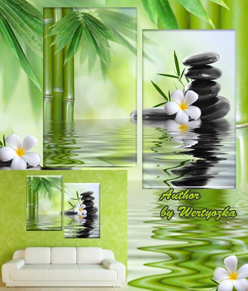 Спа камни, бамбук, белые цветы франжипани - Диптих в psd формате