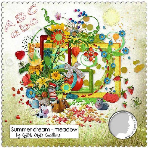 Яркий цветочный скрап-набор - Лужайка