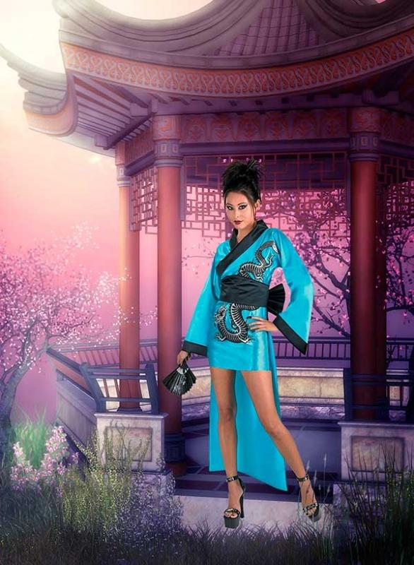 Женский фотошаблон - В вишнёвом саду