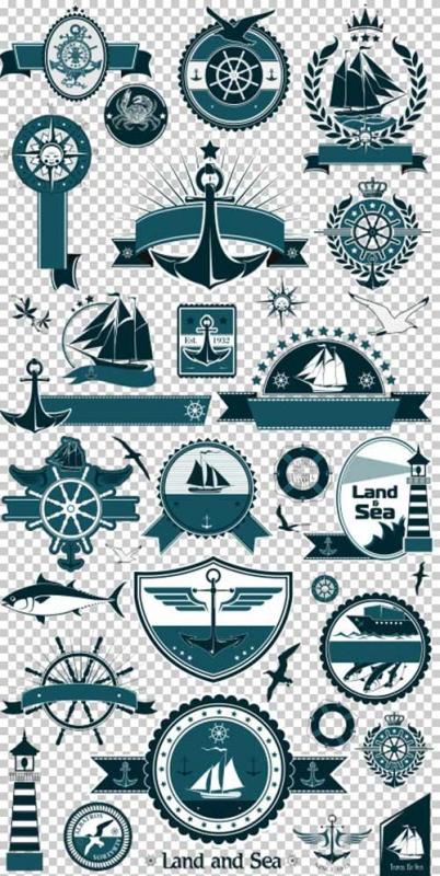 Клипарт - Морские знаки и эмблемы на прозрачном фоне