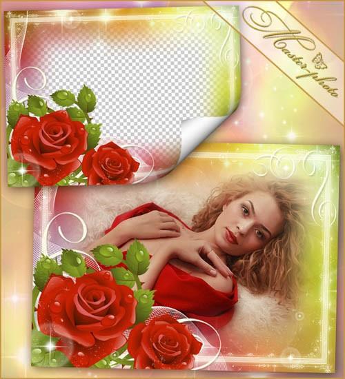 Цветочная рамка для фотошоп - Красная роза