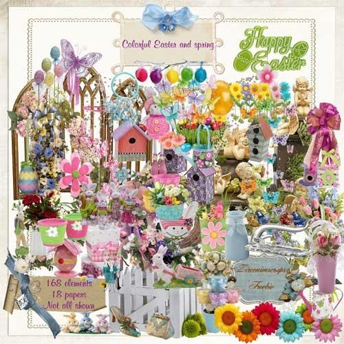 Весенний скрап-набор - Красочная Пасха и Весна