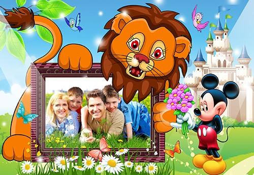 Детская фоторамка с львёнком моя семья