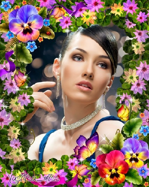 Женская рамка для фотошопа - Цветочный сад