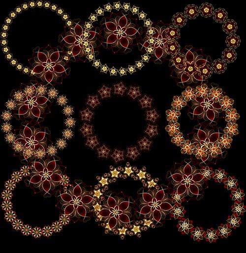 Круглые Рамки вырезы из необыкновенно красивых цветов