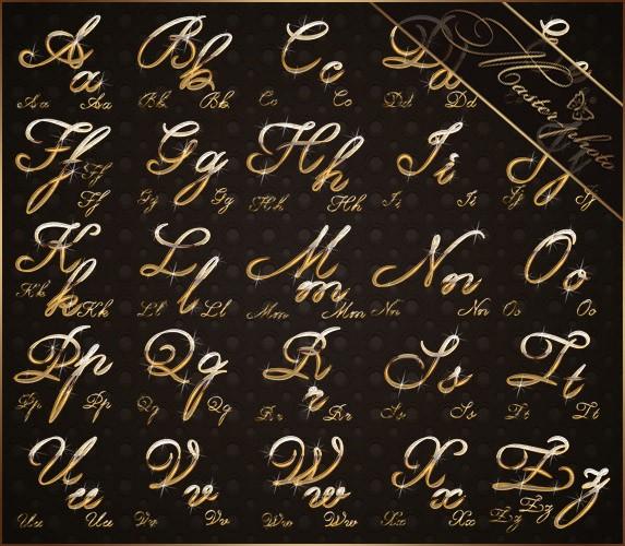 Алфавит золотой сверкающий для фотошопа