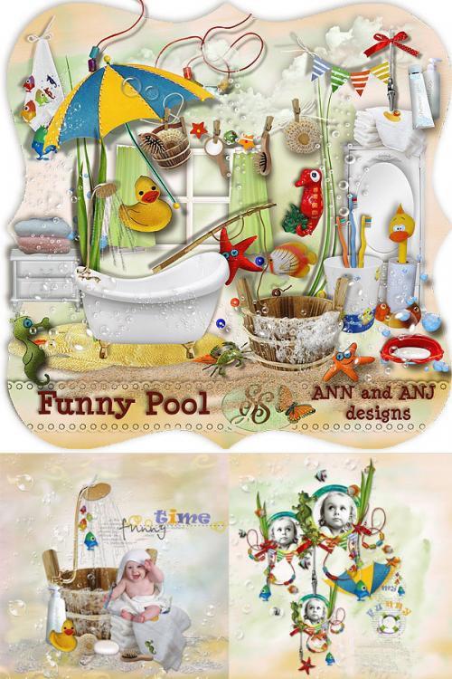 Красивый детский скрап-набор - Забавное купание