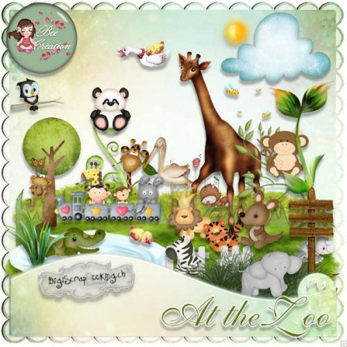 Симпатичный детский скрап-набор - В Зоопарке