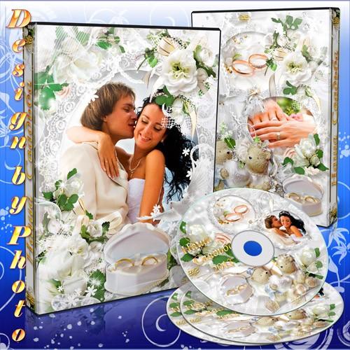 Свадебная DVD обложка и задувка на диск с белыми цветами