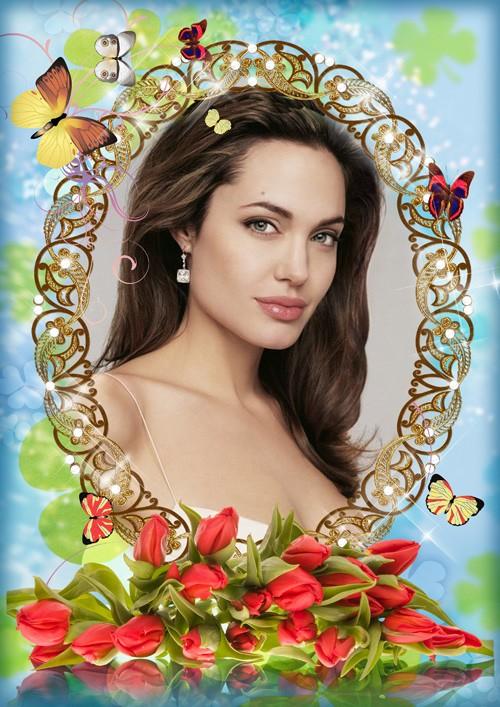 Фоторамка Тюльпаны и бабочки