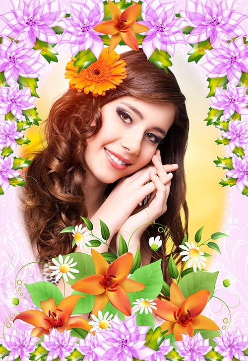 Фотошоп рамка с очень красивыми цветами