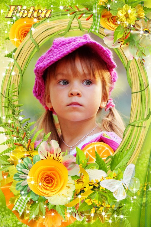 Цветочная рамка для фото - Ласковое солнышко