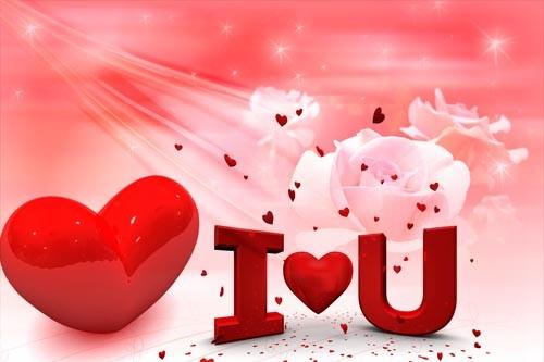 PSD исходник для романтических фоторамок - I Love You