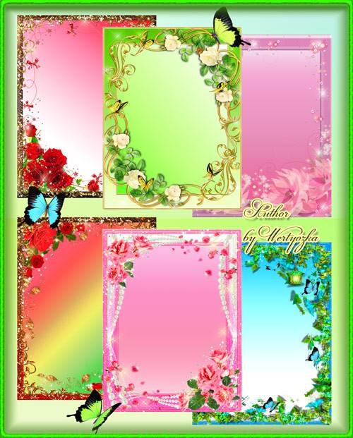 Рамки для фотошопа - Цветы и бабочки