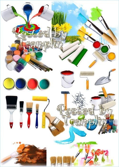 Клипарт для дизайнера – Краски, кисти, валик, обои, шпатель, молоток