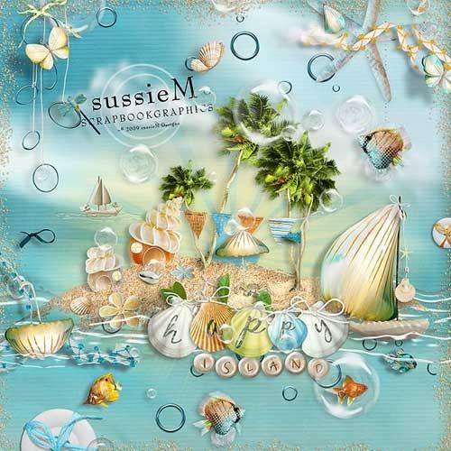 Морской скрап-набор - Остров счастья