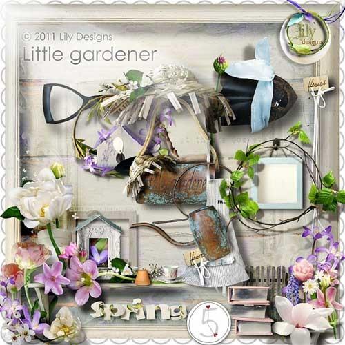 Цветочный весенний скрап-набор - Маленький садовник