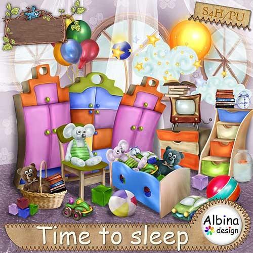 Красивый детский скрап-набор - Время спать