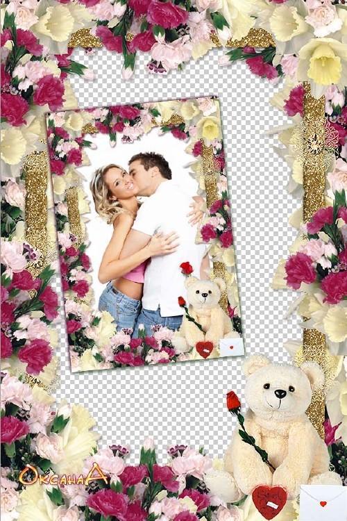 Рамка с цветами и медведем – все цветы к твоим ногам