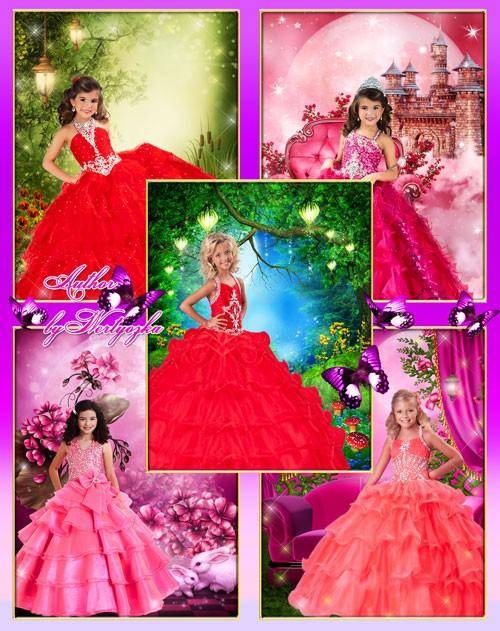 Маленькие принцессы - Детские шаблоны для фотошопа