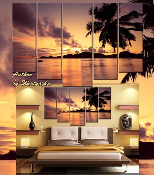 Пейзаж, морской закат, остров, пальмы - Полиптих в psd формате