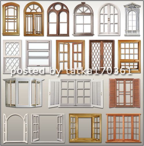 Клипарт для фотошопа - Окна разной формы, цвета и фактуры