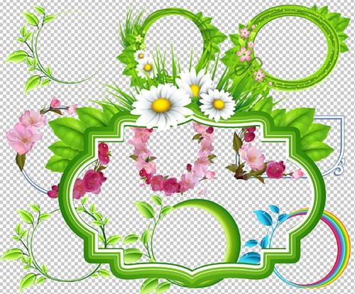 Клипарт - Летние рамки вырезы с цветами и листочками