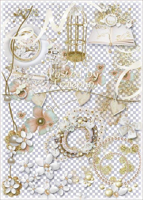 Свадебный клипарт – Цветы, банты, завязки, рамки-вырезы, бабочки, жемчуг, н ...