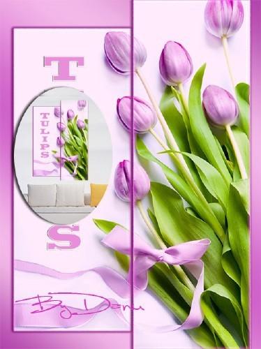 Полиптих в PSD формате   -  Тюльпаны поют о весне