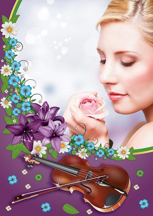 Фотошоп рамка скрипка с красивыми цветами