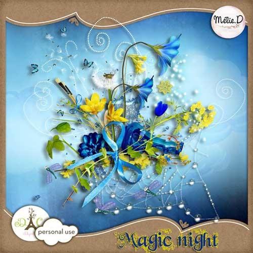 Цветочный скрап-набор - Волшебная ночь