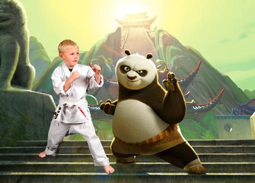 Шаблон для фотошопа  - Тренировка с Пандой кунг фу
