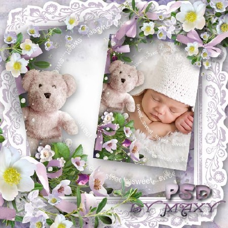 Детская рамочка в фиолетовых тонах - Сопящий медвежонок
