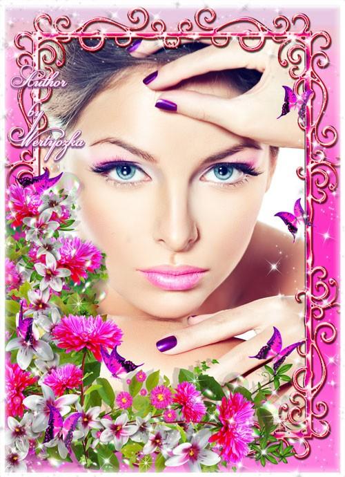 Рамка для фотошопа - Астра символ любви, изящества, изысканности и воспомин ...