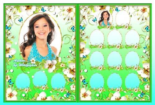 Детская виньетка - Весенние цветы и бабочки