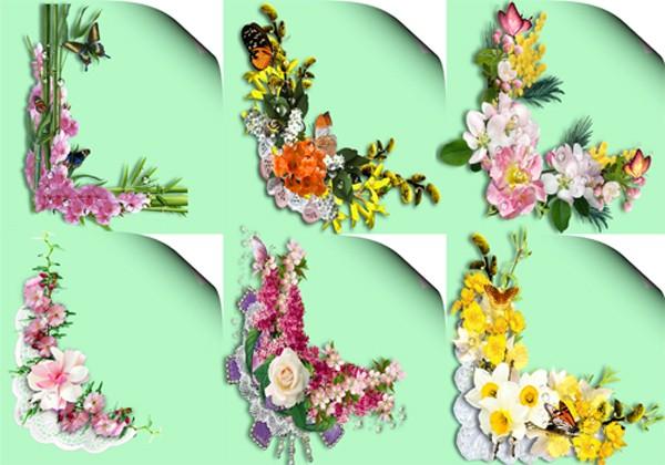 Клипарт - Уголки с весенними цветами