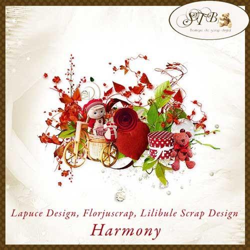 Симпатичный цветочный скрап-набор - Гармония