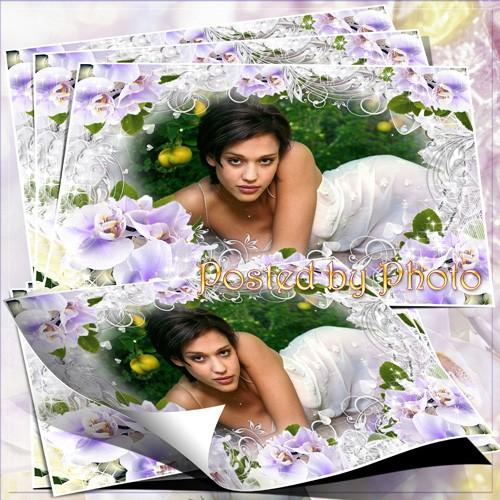 Цветочная рамка для фото - Нежно - фиолетовые орхидеи