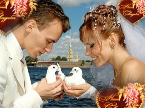 Свадебный футаж - летающие сердечки с надписью - Наша свадьба