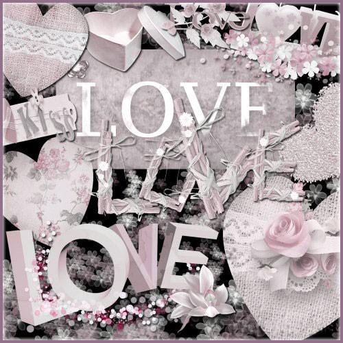 Романтический скрап-набор - Любовь и поцелуи