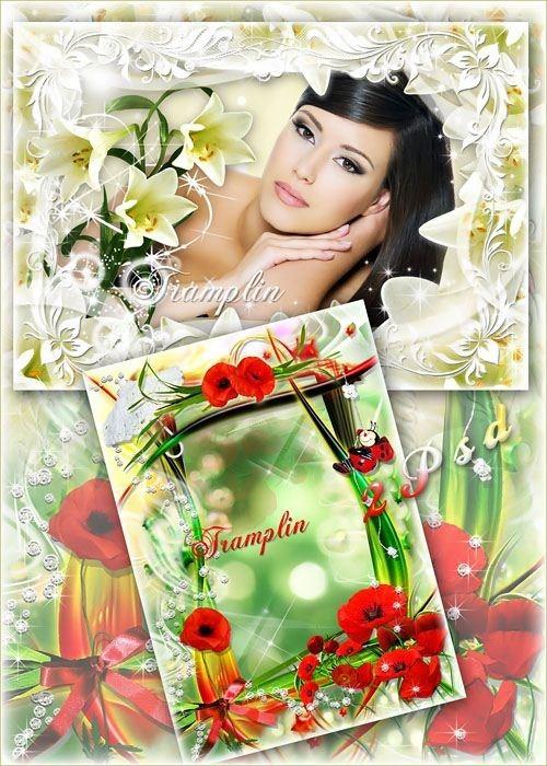Две цветочные рамки для ваших фото – Маки и лилии