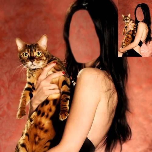 Шаблон для фотошоп - С леопардовой кошкой