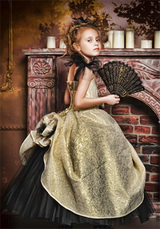 Шаблон  детский - Девочка с веером