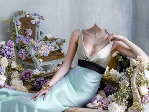 Шаблон для photoshop - В вечернем платье между цветов