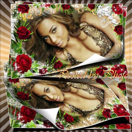 Рамка для фото - Страстные красные розы