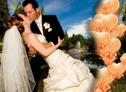 Свадебный футаж с шторкой из падающих середечек