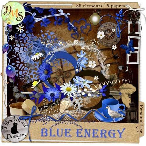 Цветочный скрап-набор в голубых тонах - Голубая энергия