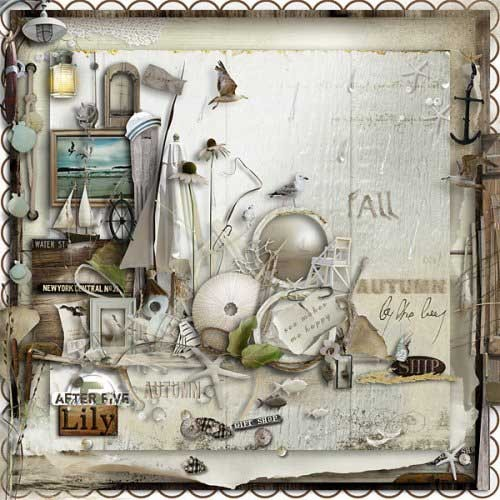 Морской скрап-набор - Осенняя бухта